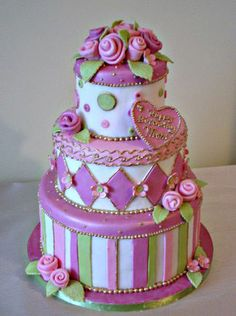 Ribbon roses Cake