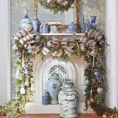 Learn How to Decorate a Spectacular and Cheap Christmas Garland overflowing with gorgeous Blue & White decor accents! Diy Christmas Fireplace, Blue Christmas Decor, Cheap Christmas, Christmas Mantels, Christmas Home, White Christmas, Holiday Decor, French Country Christmas, Christmas Villages