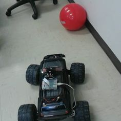 Now working on the target searching!  It will drive along in the room until it finds the red ball  I might do a parking assist   #autonomous #intelligent #ball #finding #truck #electric #electronics  #DIY #hacked #project  #raspberrypi #model2 #picamera #arduino #arduinomega #program #programming #python #computerVision #opencv #electricalengineering  #projectSummit #rc #traxxas #summit #lipo #rctruck #4x4 by thattmaxxguy