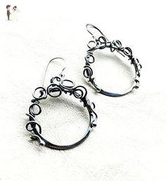 Sterling Silver Wirework Hoop Earrings with Handmade French Ear Wires - Wedding earings (*Amazon Partner-Link)
