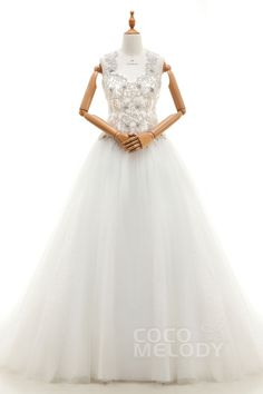 Fantastic A-Line Straps Natural Court Train Tulle Ivory Sleeveless Key Hole Wedding Dress with Appliques and Beading LD3940#Cocomelody#weddingdresses#bridalgown#