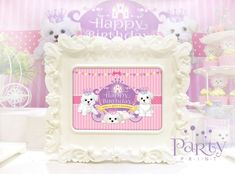Welcome sign at a princess puppy party! See more party ideas at CatchMyParty.com!