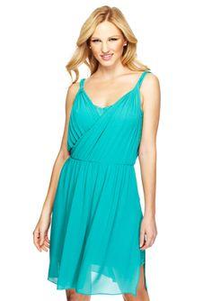 JESSICA SIMPSON Sleeveless Drape Bodice Blouson Dress