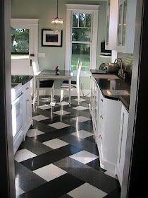 Plaid tile floor. Recreate in the kitchen using vinyl peel-and-stick floor tile.