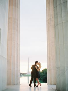 Chic Washington DC engagement session: Photography : Shannon Moffit Photography | Dress : Rent The Runway Read More on SMP: http://www.stylemepretty.com/little-black-book-blog/2016/11/11/classic-chic-sunrise-dc-engagement/