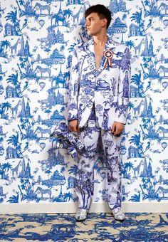 toile de jouy as interpreted by Castlebajac Blue Porcelain Prints azulejos blue bleu cobalt white blanc