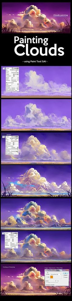 Painting Clouds in Paint Tool SAI by ombobon Nubes Digital Painting Tutorials, Digital Art Tutorial, Painting Tools, Painting Lessons, Art Tutorials, Art Lessons, Painting Art, Drawing Tutorials, Art Paintings