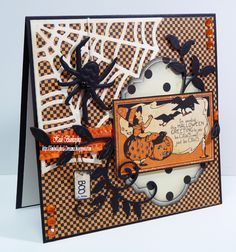 handmade Halloween Card with die cut spider and web.