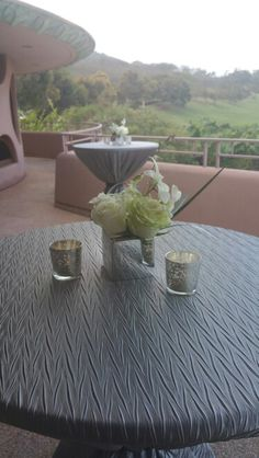 Cocktail decor for a private event at The King Kamehameha Golf Club Hanohano Room lanai.   Spectacular views of the golf course and the north shore of #Maui #Hawaii #mauievents #mauibanquets