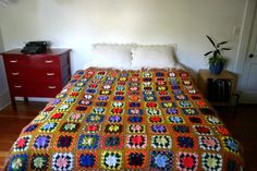 Gold klimt Rainbow Floral Crochet Bed Spread