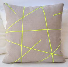 Beige linen pillow cover with neon yellow stripes  by PALEOLOCHIC, €23.00