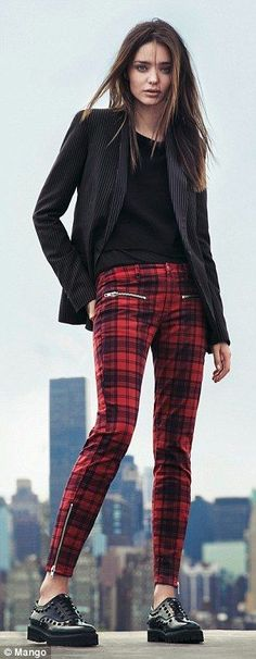 Miranda Kerr for Mango red and black check trousers with zips - classy punk!-So bang on trend for the oncoming season with the punk/grunge influence