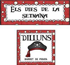 INFANTILCASTELL: materiales, fichas, recursos educación infantil: dies de la setmana pirates. al blog explicació de com ho fem. Días de la semana piratas.