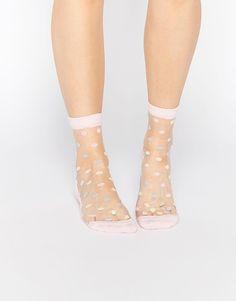 ASOS | ASOS Sheer Pastel Polka Dot Ankle Socks at ASOS
