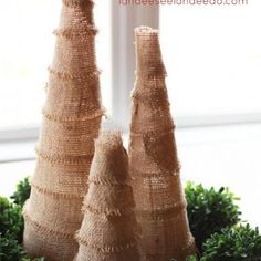 Burlap Christmas Tree:  How about wrapping floral foam cones like this and then decorating with live flowers?