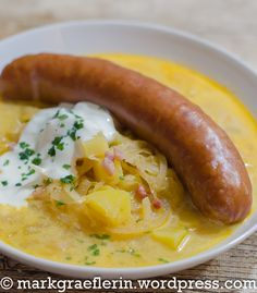 Saturday stew: Sauerkraut soup with potatoes, bacon and sour cream, Saucisse de Montbéliard Sauerkraut, Bacon, Sausage Soup, Getting Hungry, Sauce, Meat Recipes, Sour Cream, Stew, Wordpress