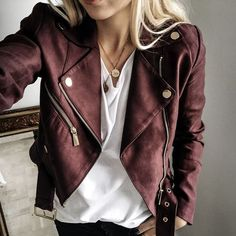 dark red suede moto jacket