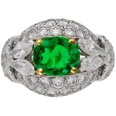 Preowned Cartier Paris Natural Colombian Emerald Diamond Gold Cluster... ($40,936) ❤ liked on Polyvore featuring jewelry, rings, green, emerald rings, diamond cluster ring, green gold ring, diamond rings and emerald gold ring