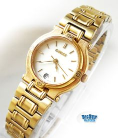 b1cee473bec Ladies GUCCI 9200L Classic Date Gold Jewelry Watch Vintage Gucci