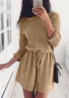 This versatile tan drawstring knit dress has crew neckline, it's stretchable as well as unlined.   Lookbook Store Summer Style