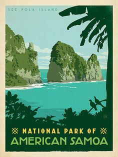 National Park of American Samoa - Anderson Design Group has created an award-winning series of classic travel posters that celebrates the history and charm of America's greatest cities and national parks. Founder Joel Anderson directs a team of talented Nashville-based artists to keep the collection growing. This print celebrates the tropical splendor of American Samoa's own National Park.
