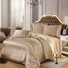 Silk satin bedding sets luxury 3pcs/4pcs RUSSIA SIZE USA SIZE zebra Leopard duvet cover set bedclothes pink blue Peacock sheet