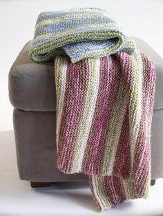 Color Inspiration :: This is a KNIT blanket pattern from Lion Brand.  I like the color sequences they gave, using two strands of baby yarn held together creates a tweed effect  . . . .   ღTrish W ~ http://www.pinterest.com/trishw/  . . . . #crochet #afghan #throw