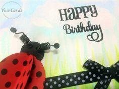 129 - Handmade Card - Happy Birthday Ladybird  #Verve Stamps, #Papertrey, #Marianne Creatables