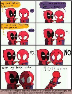 XD #spiderman #deadpool #funny #hashtag #pleasestop #never #goaway #fine