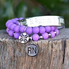 Celebrating loving caretakers everywhere! Show a nurse you know or even yourself appreciation with this one of a kind Rustic Cuff stack. This set includes: .5 inch Silver Engraved Quote: Be Inspired.