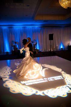Romantic bride & groom's over their monogram gobo! Photo via Dance Floor Wedding, Dream Wedding, Ellie Saab Wedding, Wedding Photography Inspiration, Wedding Inspiration, Dance Floor Lighting, Monogram Wedding, Wedding Monograms, Event Lighting