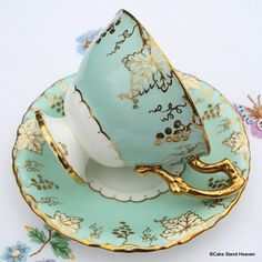 .Royal Crown Derby 'Vine' Vintage China Teacup and Saucer