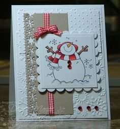 Stamps: Penny Black Warm & Cold Paper: White, Kraft Ink: Memento Tuxedo Black, Copics Accessories: Ribbon, Square & Scallop Square Nestabilities, Diamond Stickles, Foam Tape, Martha Stewart Snowflake Border Punch, Swiss Dots Embossing Folder, Snowflakes Embossing Folder, Red Rhinestones