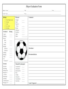 Soccer Player Evaluation Form Fill