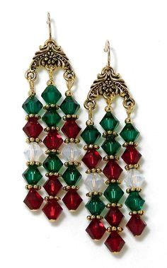 Up-sized Xmas, Swarovski Crystal Chandelier Earrings