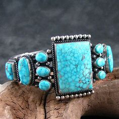 8 Turquoise and Sterling Silver Cluster Bracelet by Navajo Aaron Toadlena Vintage Turquoise, Turquoise Jewelry, Turquoise Bracelet, Silver Jewelry, Vintage Jewelry, Turquoise Cuff, Jewlery, Navajo Jewelry, Indian Jewelry