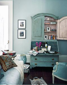 Love the wall coloe (Grisaille by Martha Stewart-Sherwin Williams) and the secretary is beautiful!