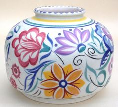 Poole Pottery Vase, CS Pattern, Painted Diane Holloway, c1955.