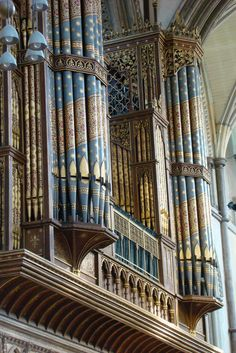 Painted organ pipes in Rochester Cathedral, England