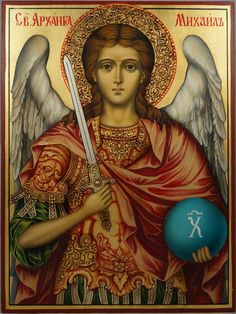 High quality hand-painted Orthodox icon of St Archangel Michael (halo relief). BlessedMart offers Religious icons in old Byzantine, Greek, Russian and Catholic style. Religious Images, Religious Icons, Religious Art, Saint Barbara, Paint Icon, Angel Images, Angel Warrior, Archangel Michael, Archangel Gabriel