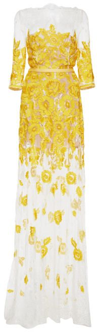 Naeem Khan Floral Lace Gown Yellow on shopstyle.com.au