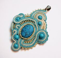 Big soutache pendant handmade embroidered in ecru by SaboDesign, $119.00