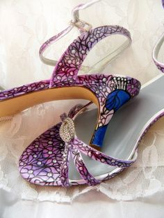 Wedding shoes purple peacocks painted sandal by norakaren on Etsy, $225.00