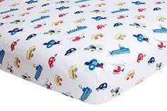 #kids This adorable fitted crib sheet is made of 100% super soft cotton. Transportation pattern makes this a great sheet to match almost any #decor!