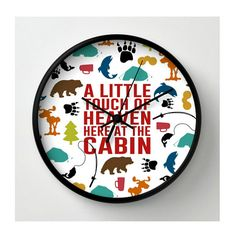 Wall Clock Little Touch of Heaven at The Cabin 10 by BeckyMcCreary, $50.00