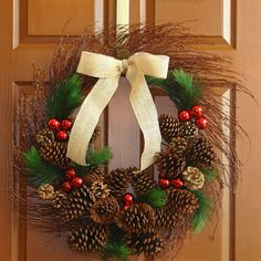 fall wreath Christmas wreath winter wreath front by aniamelisa, $79.95