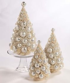 Vintage Style Beautiful Ivory Platinum Bottle Brush Trees Christmas Set of 3