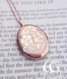 Large Fine 9ct Rose Pink Gold Flower Locket Necklace 20