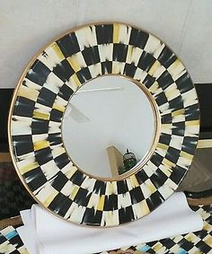 """HP 14.5"""" courtly round whimsical wall mirror supercrazychick check w/ gold"""