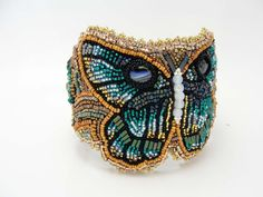 Bead Embroidered Bracelet Teal Butterfly by sevenwestdesigns, $188.00